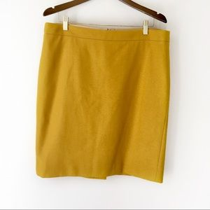 J Crew Factory The Pencil Skirt Mustard Wool Plus